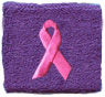 Pink Ribbon on Purple Wristband